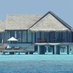 Water villa seen from arrival platform