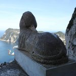 Sphinx and view over Capri