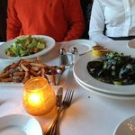 MUSSELS, SALAD, FRIES