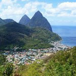 The Pitons and town of Soufriere