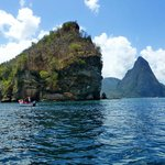 SCUBA divers near the Pitons, calm west coast of St Lucia