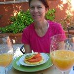 Breakfast included fresh orange juice and fruit each morning