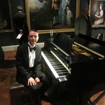 Philip Mountford at Rachmaninov's piano at the Holburne Museum