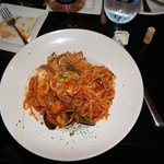 Linguini Pescatore Special....added red pepper flakes