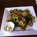 fried pickles with a dill & shallot aioli