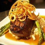 Chargrilled Beef Tenderloin Filet with Risotto & Asparagus