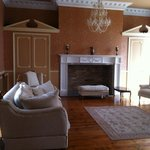 reception room with fireplace
