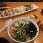 Ama-ebi noodle soup and sushi