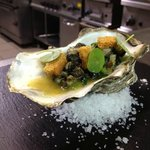 winkels, warmed oyster, crouton, wilted borage