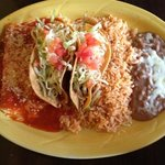 cheese enchilada, tacos, rice and beans