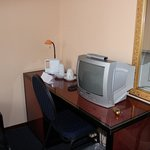 Tv, desk and tea making facilities, no tea or sugar provided. you have to ask at reception.