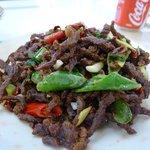 Stir fried spicy shredded beef