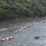 Annual canoe race down the river