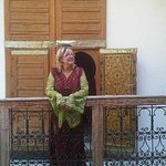 trying on kaftans at Dar Rbab