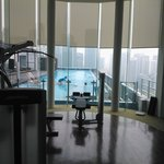 Pool view from rooftop gym