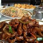 Ginger Beef, Beef Fried Rice and Sweet and Sour Chicken Balls