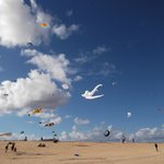 Kite festival on Corralejo beach a long stretch of golden sand.