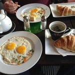 Eggs, coffee, bread, tea
