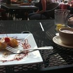 amazing pineapple cake and cappuccino
