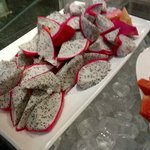 Dragon fruit served in the breakfast buffet.  Yum!