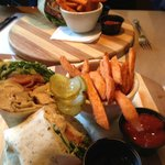 Chicken bacon ranch wrap with sweet potato fries! Yummo!