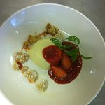 Panna cotta with strrawberries  sauce