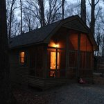 Cabin #2 lit up at dusk