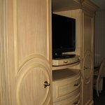 Nice closets, drawers, and TV--safe inside door on left