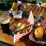 burger, beer and fries