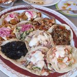 Mixed platter of tacos