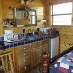 Kitchen facilities in the Texas cabin