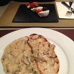 Mushroom brushetta and tricolore salad starters