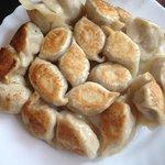 Potsticker (fried) lamb dumplings