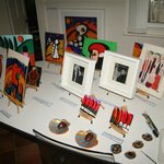 Tiny easels with Cynthia's smaller pictures.