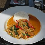 Catfish with red curry sauce