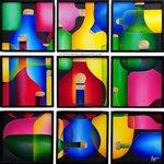 Ricardo Campero 9 panels, botellas, 3D collage ( foamboard)