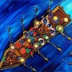 PUAC, canoa, oil on canvas
