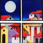 Ricardo campero, 4 panels, abrazo de la noche, 3d collage(foamboard)