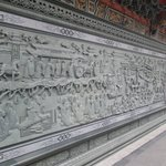 One of carved stone walls