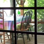 View of back porch from kitchen