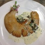 Breaded stingray creamy sauce with capers