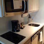 small kitchen with coffee maker