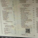 the menu outside the restaurant