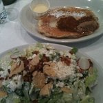 cobb salad and bread pudding pancake