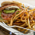 Bacon Avo Swiss burger with twice fried fries