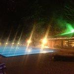 Hot-water open-air pool at nignt