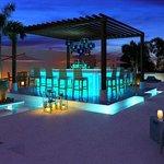 Chic Rooftop Bar At Night