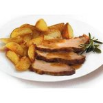 Roasted pork with baked potatoes