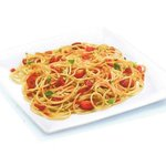 Spaghetti with tomato sauce, cherry tomatoes and basil leaves
