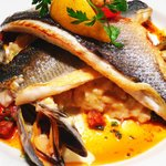Fillet of Seabass, pan fried fillets of seabass on a bed of mussel risotto finished with spicy c